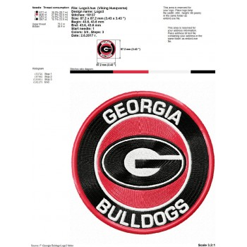 Georgia Bulldogs logos machine embroidery design for instant download
