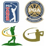Golf logos and golfers machine embroidery design for instant download