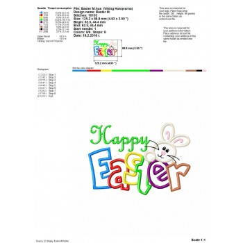 Happy Easter machine embroidery design for instant download