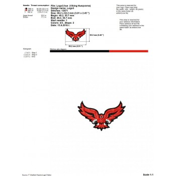 Hartford Hawks logo machine embroidery design for instant download