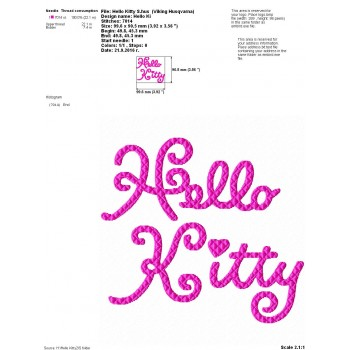 Hello Kitty inscription machine embroidery design for instant download