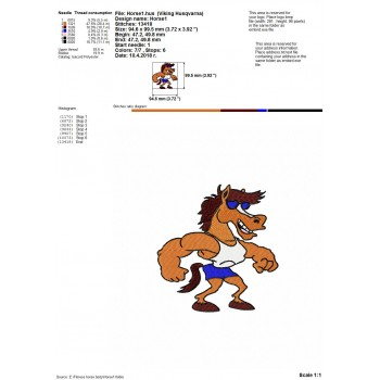 Fitness horse body machine embroidery design for instant download