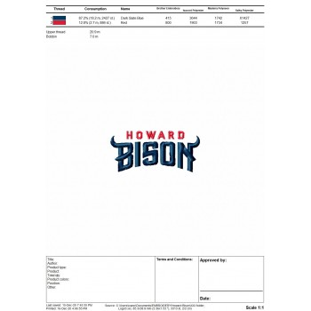 Howard Bison logo machine embroidery design for instant download