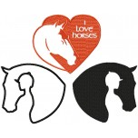 I Love Horses Machine Embroidery Design for instant download