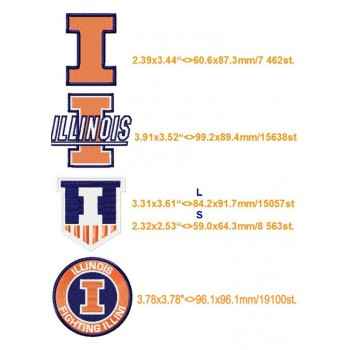 Illinois Fighting Illini logo machine embroidery design for instant download