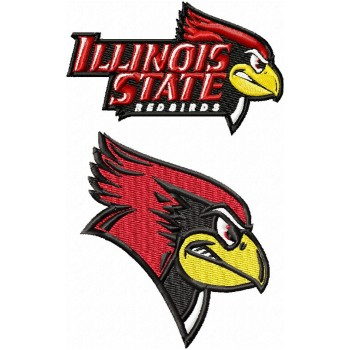 Illinois State Redbirds logos machine embroidery design for instant download