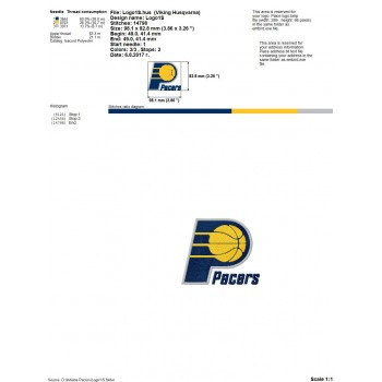 Indiana Pacers Logo Machine Embroidery Design For Instant