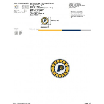 Indiana Pacers logo machine embroidery design for instant download