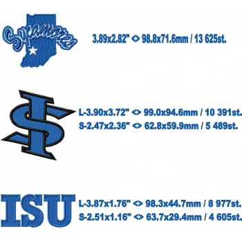 Indiana State Sycamores logo machine embroidery design for instant download