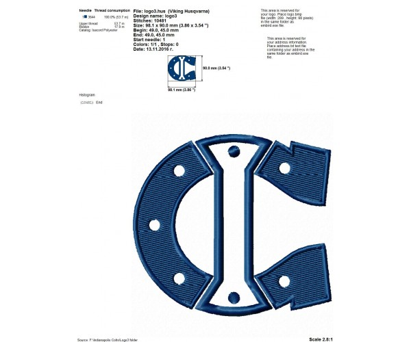 Indianapolis Colts Logo Machine Embroidery Design For Instant Download