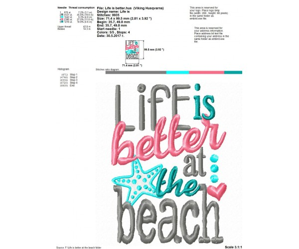 Machine Embroidery Design For Life Is Better At The Beach