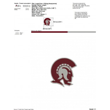 Little Rock Trojans logo machine embroidery design for instant download
