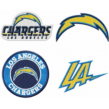 Los Angeles Chargers logo machine embroidery design for instant download