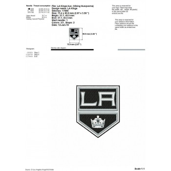 Los Angeles Kings logo machine embroidery design for instant download