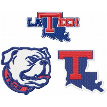 Louisiana Tech Bulldogs logos machine embroidery design for instant download