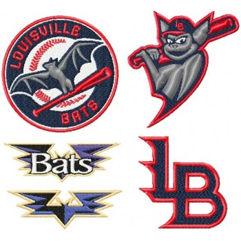 Louisville Bats logo machine embroidery design for instant download