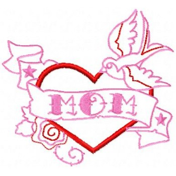 Love Heart Mom machine embroidery design for instant download