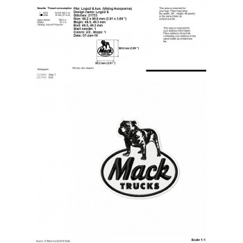 Mack Truck logos machine embroidery design for instant download