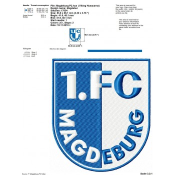 Magdeburg FC logo machine embroidery design for instant download