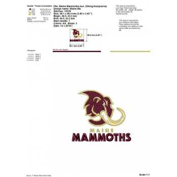 Maine Mammoths logo machine embroidery design for instant download