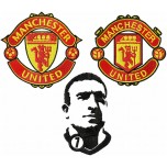 Manchester United logo + Eric Cantona machine embroidery design for instant download