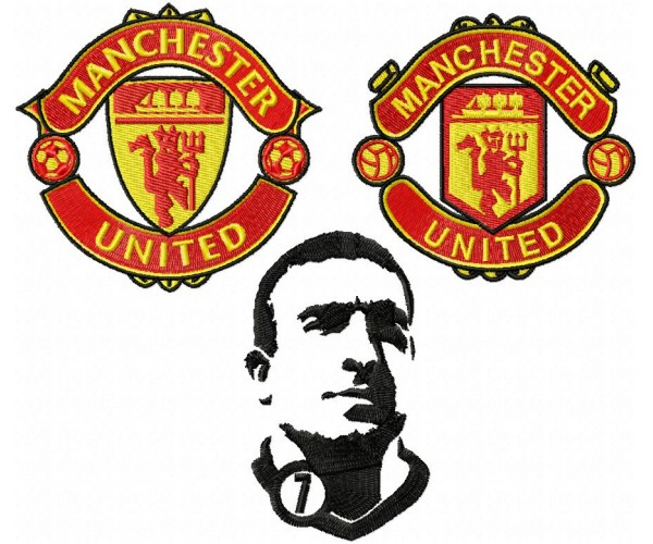 Manchester United Logo Eric Cantona Machine Embroidery Design For Instant Download