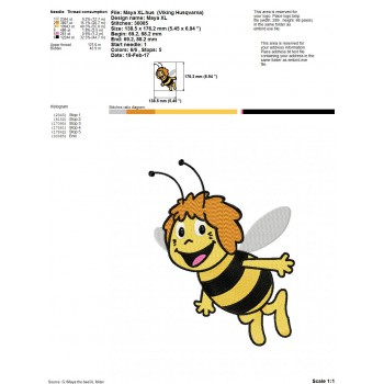 Maya the bee machine embroidery design for instant download