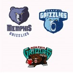 Memphis Grizzlies 3 logos Machine Embroidery Design for instant download