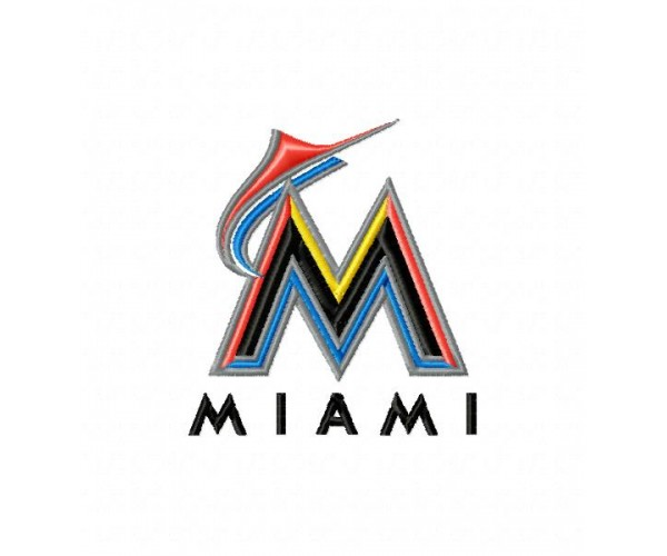 miami marlins logo machine embroidery design for instant