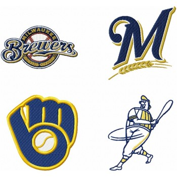 Milwaukee Brewers logo machine embroidery design for instant download
