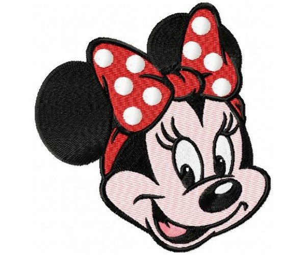 Minnie mouse face machine embroidery design for instant
