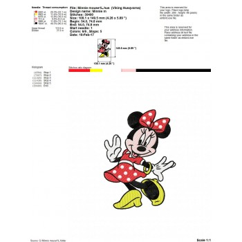 Minnie mouse machine embroidery design for instant download