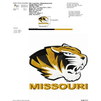 Missouri Tigers logo machine embroidery design for instant download
