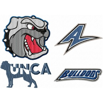 UNC Asheville Bulldogs logos machine embroidery design for instant download