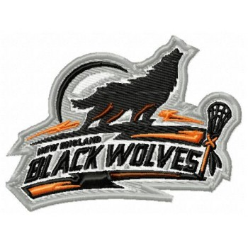New England Black Wolwes logo machine embroidery design for instant download