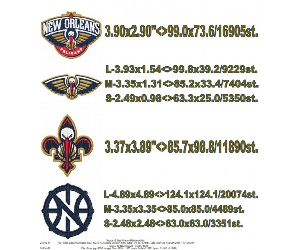 New Orleans Pelicans logo machine embroidery design for