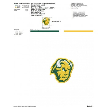 North Dakota State Bison logo machine embroidery design for instant download