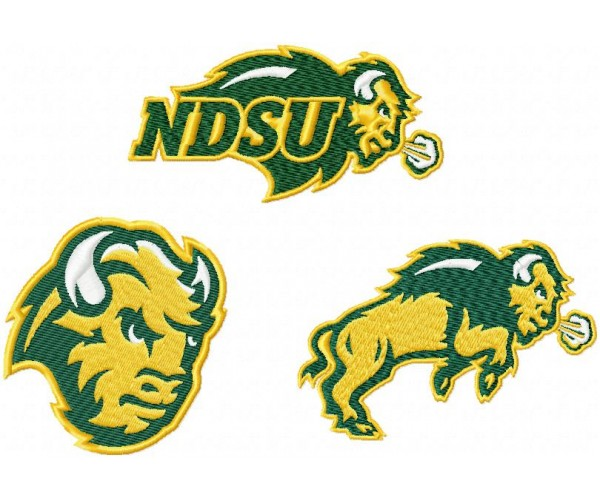 North Dakota State Bison Logo Machine Embroidery Design For Instant