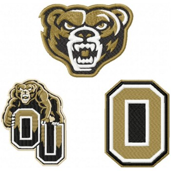 Oakland Golden Grizzlies logo machine embroidery design for instant download