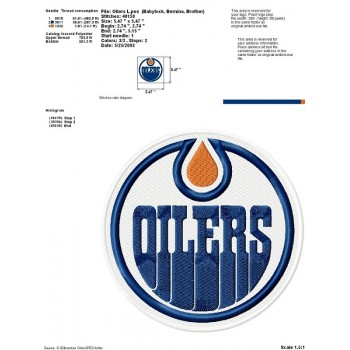 Edmonton Oilers logo machine embroidery design for instant download