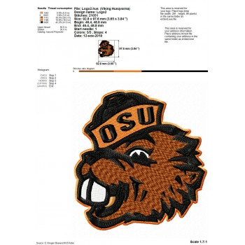 Oregon State Beavers logos machine embroidery design for instant download