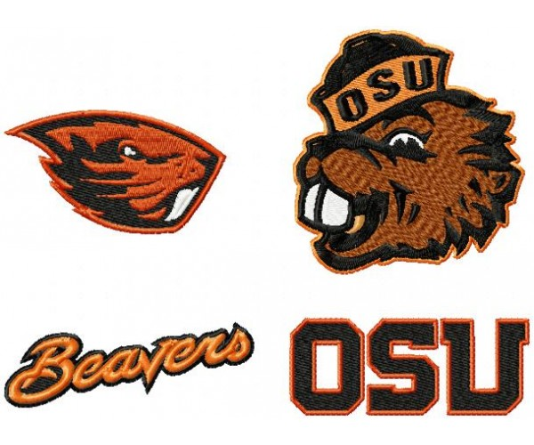 oregon state beavers logos machine embroidery design for instant