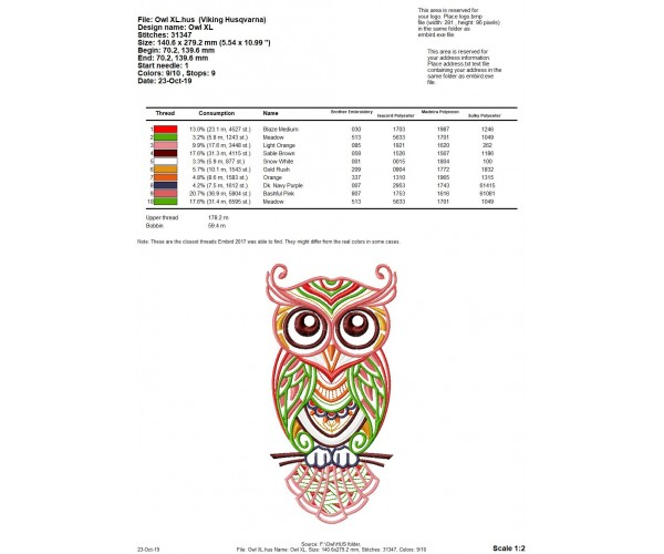 6 Different Sizes for Instant Download Bird Embroidery Design