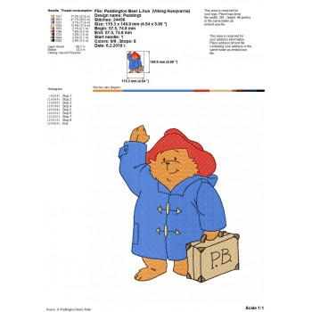 Paddington Bear cartoons machine embroidery design for instant download