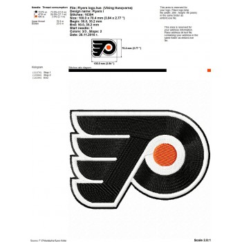 Philadelphia Flyers logo machine embroidery design for instant download