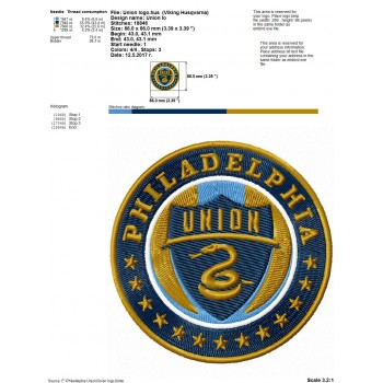 Philadelphia Union fc logo machine embroidery design for instant download
