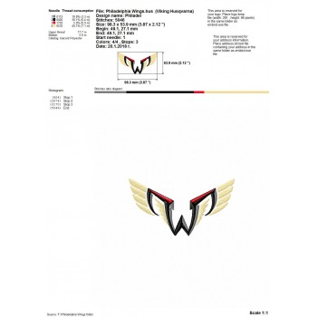 Philadelphia Wings logo machine embroidery design for instant download