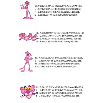 Pink Panther cartoon machine embroidery design for instant download