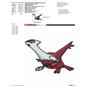 Pokemon Latias machine embroidery design for instant download