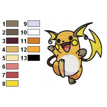 Pokemon Raichu machine embroidery design for instant download